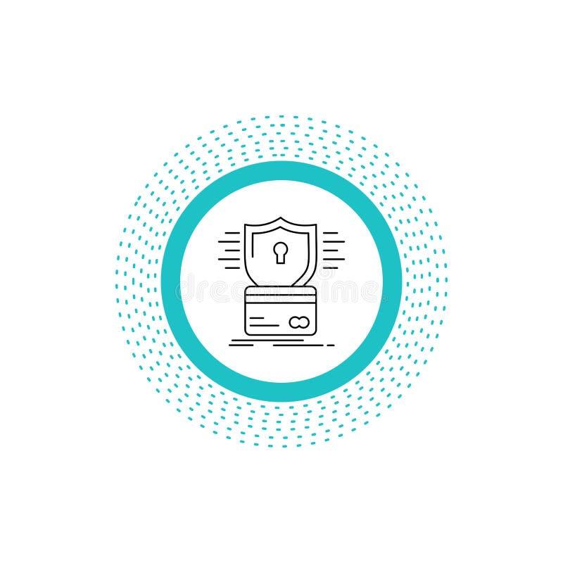 ochrona, karta kredytowa, karta, sieka, kilof Kreskowa ikona Wektor odosobniona ilustracja royalty ilustracja