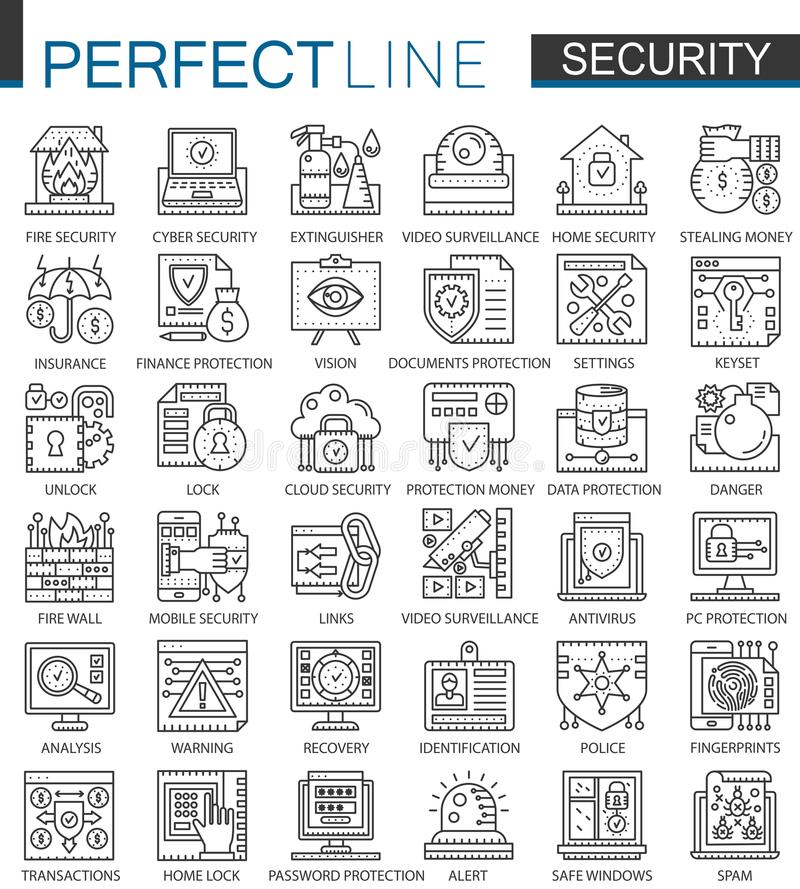 Ochrona konturu pojęcia mini symbole Dane peceta ochrony technologii nowożytnego uderzenia liniowe stylowe ilustracje ustawiać ilustracja wektor