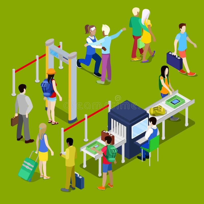 Ochrona Lotniska punkt kontrolny z kolejką Isometric ludzie z bagażem royalty ilustracja