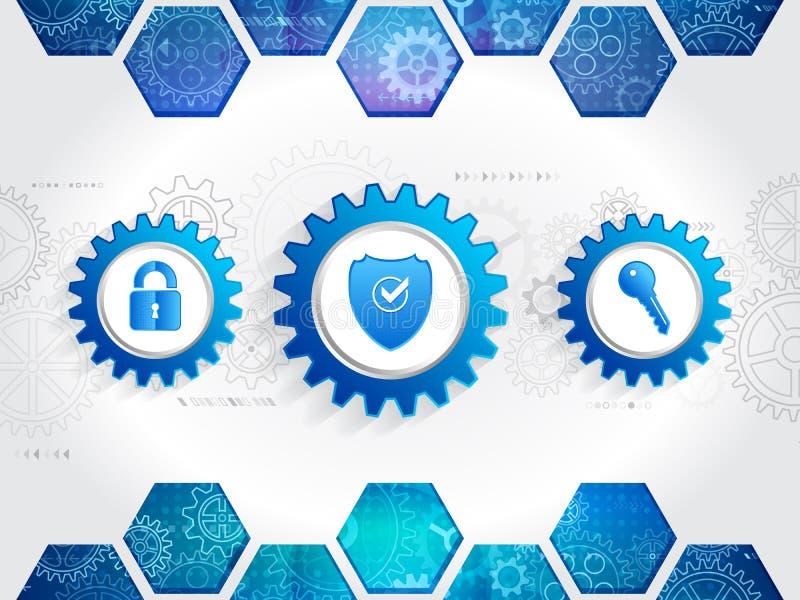 Ochrona mechanizmu system Technologii ochrony pojęcie ilustracji