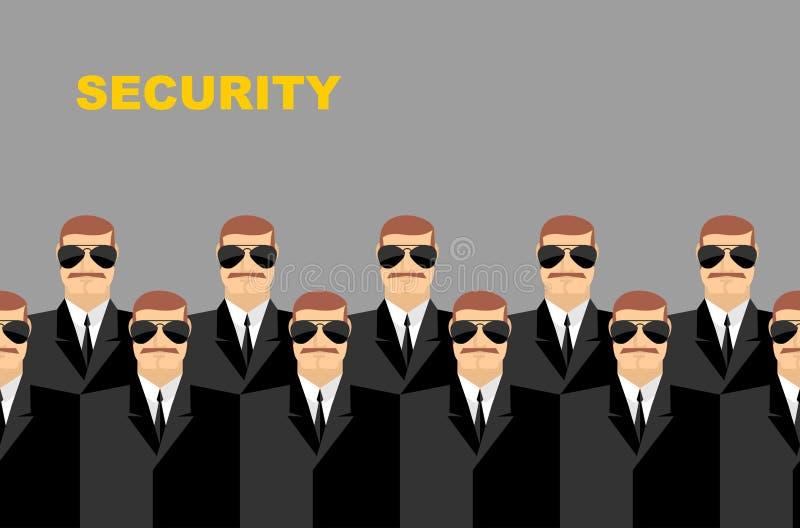 Ochrona ochroniarz Wzór mężczyzna w szkłach wektorowy backgroun royalty ilustracja