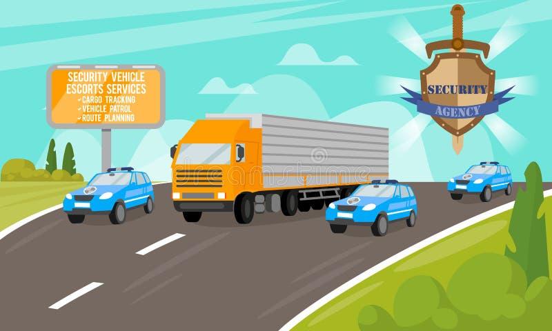 Ochrona pojazdu eskorty usługa wektor ilustracja wektor