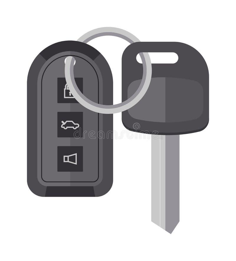 Ochrona samochodu klucz z pilot do tv kreskówki płaską wektorową ilustracją ilustracja wektor