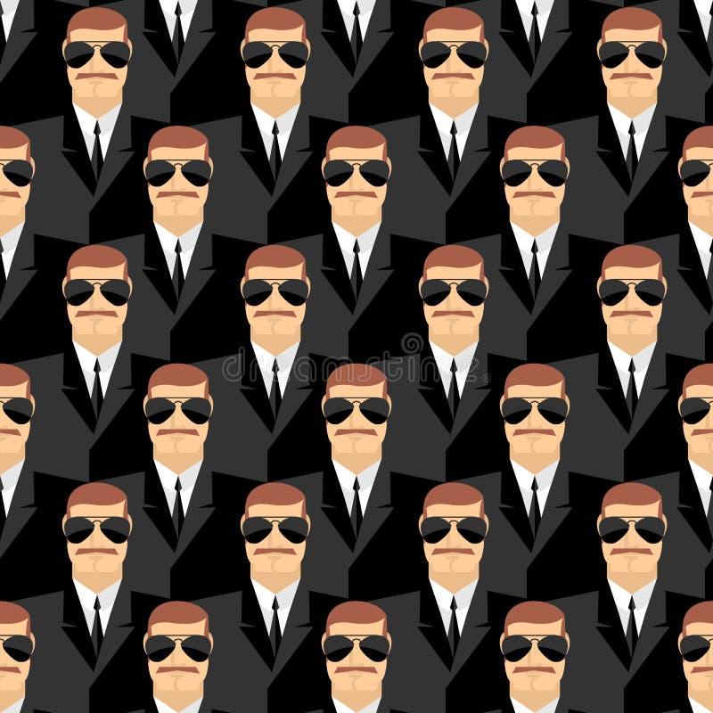 ochroniarz Bezszwowy wzór mężczyzna w szkłach Tajni agenci Se royalty ilustracja