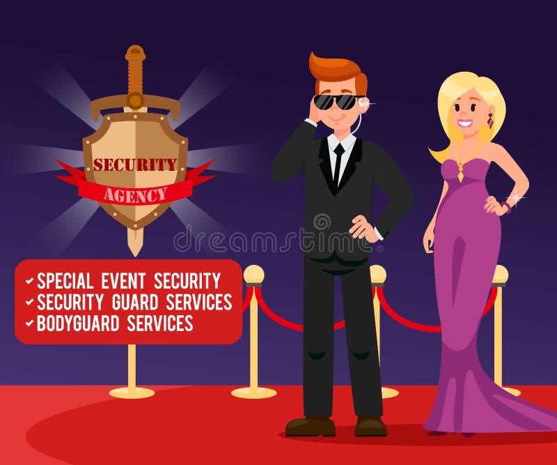 Ochroniarz i Piękny kobieta sztandaru szablon royalty ilustracja