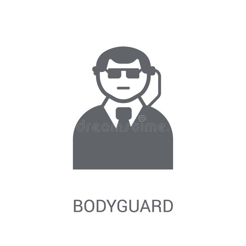 Ochroniarz ikona Modny ochroniarza logo pojęcie na białym backgroun royalty ilustracja