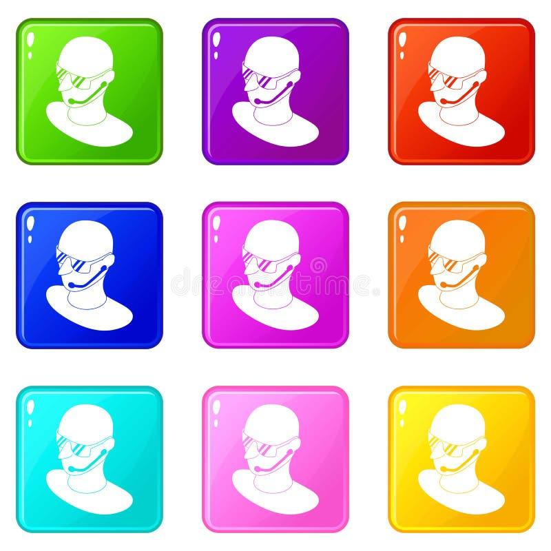Ochroniarz ikony ustawiają 9 kolorów kolekcję ilustracji