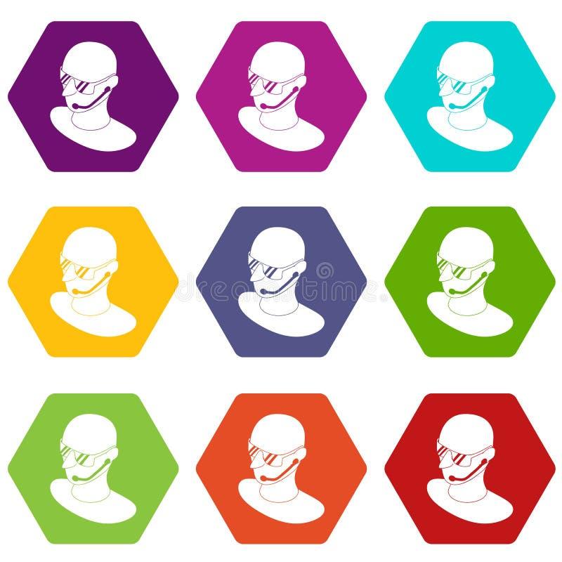 Ochroniarz ikony ustawiają 9 wektor royalty ilustracja