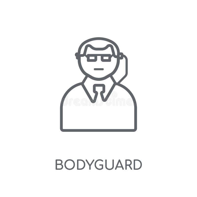Ochroniarz liniowa ikona Nowożytny konturu ochroniarza logo pojęcie dalej ilustracja wektor