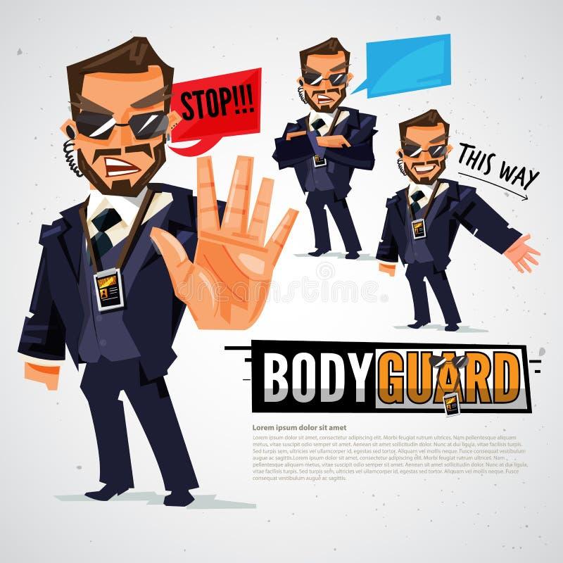 ochroniarz Ochrona i pracownicy ochrony w akcjach - bolączka ilustracja wektor