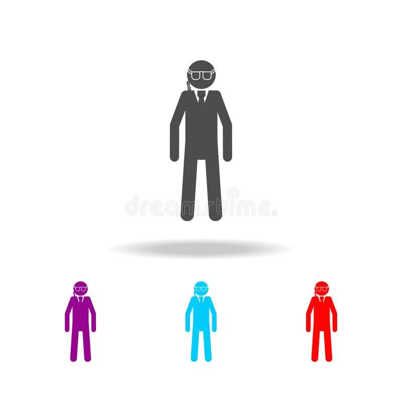 Ochroniarz sylwetki ikona Elementy jednostki specjalne w wielo- barwionych ikonach Premii ilości graficznego projekta ikona Prost royalty ilustracja