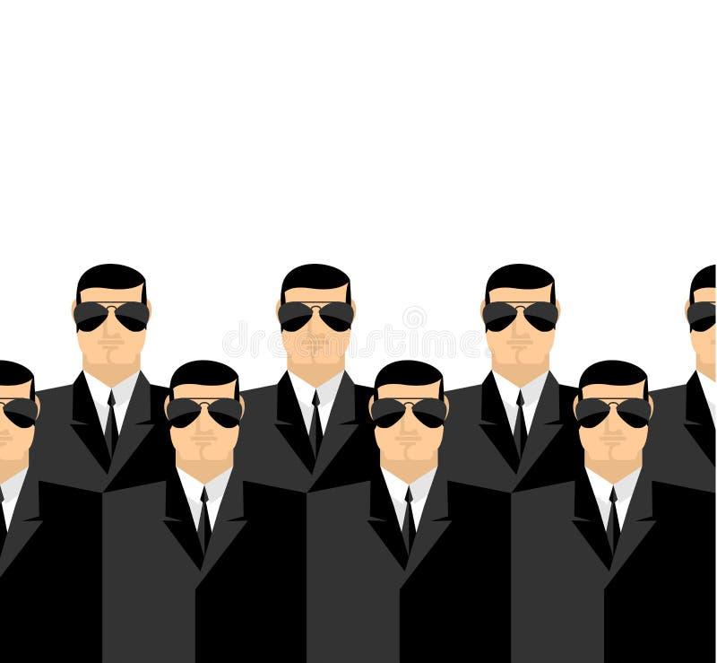 Ochroniarzi w ciemnych kostiumach i ciemnych szkłach Tajna służba agenci ilustracji