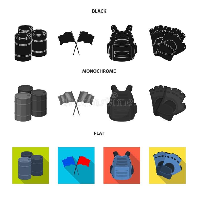 Ochronna kamizelka, rękawiczki i inny wyposażenie, Paintball pojedyncza ikona w czarnym, płaski, monochromu symbolu stylowy wekto ilustracji