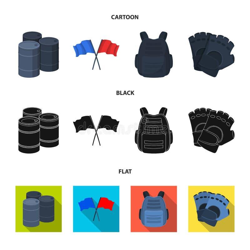 Ochronna kamizelka, rękawiczki i inny wyposażenie, Paintball pojedyncza ikona w kreskówce, czerń, mieszkanie symbolu stylowy wekt ilustracji