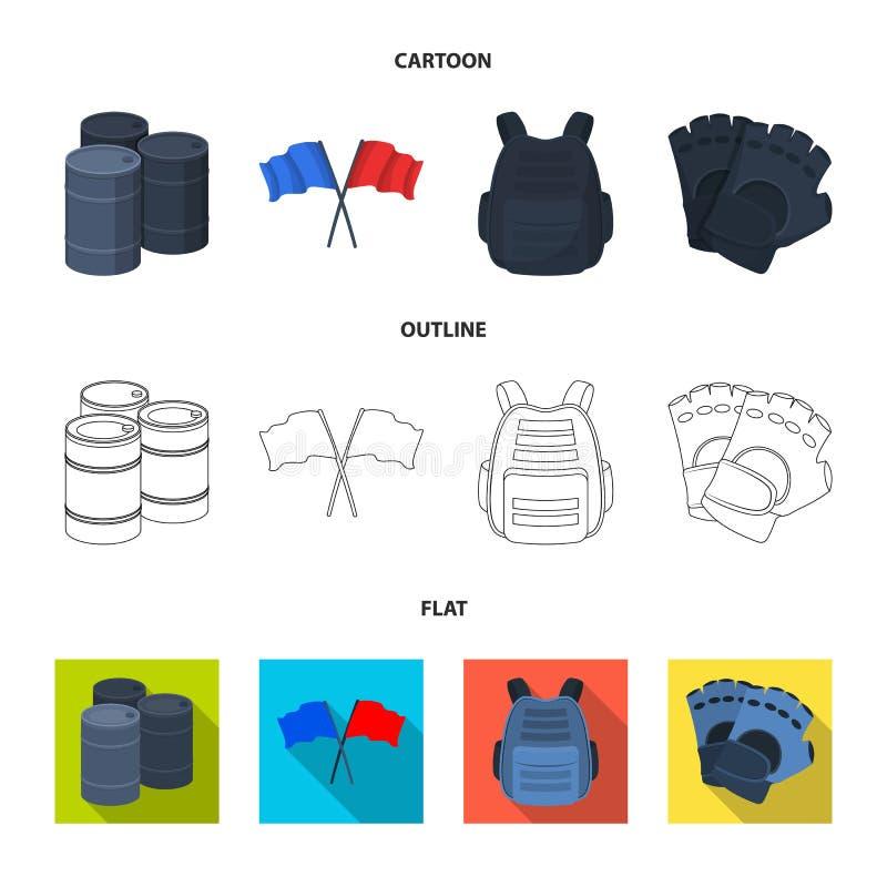 Ochronna kamizelka, rękawiczki i inny wyposażenie, Paintball pojedyncza ikona w kreskówce, kontur, mieszkanie symbolu stylowy wek royalty ilustracja