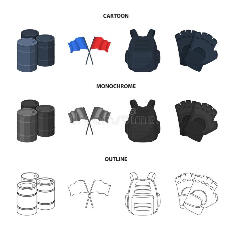 Ochronna kamizelka, rękawiczki i inny wyposażenie, Paintball pojedyncza ikona w kreskówce, kontur, monochromu stylowy wektorowy s ilustracja wektor