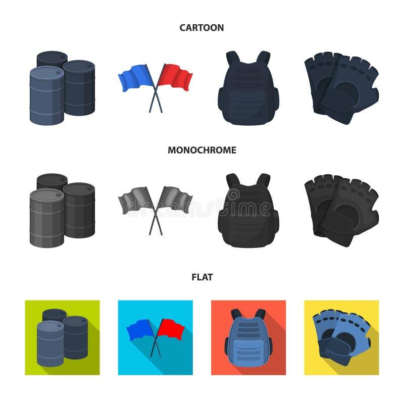 Ochronna kamizelka, rękawiczki i inny wyposażenie, Paintball pojedyncza ikona w kreskówce, mieszkanie, monochromu symbolu stylowy ilustracja wektor