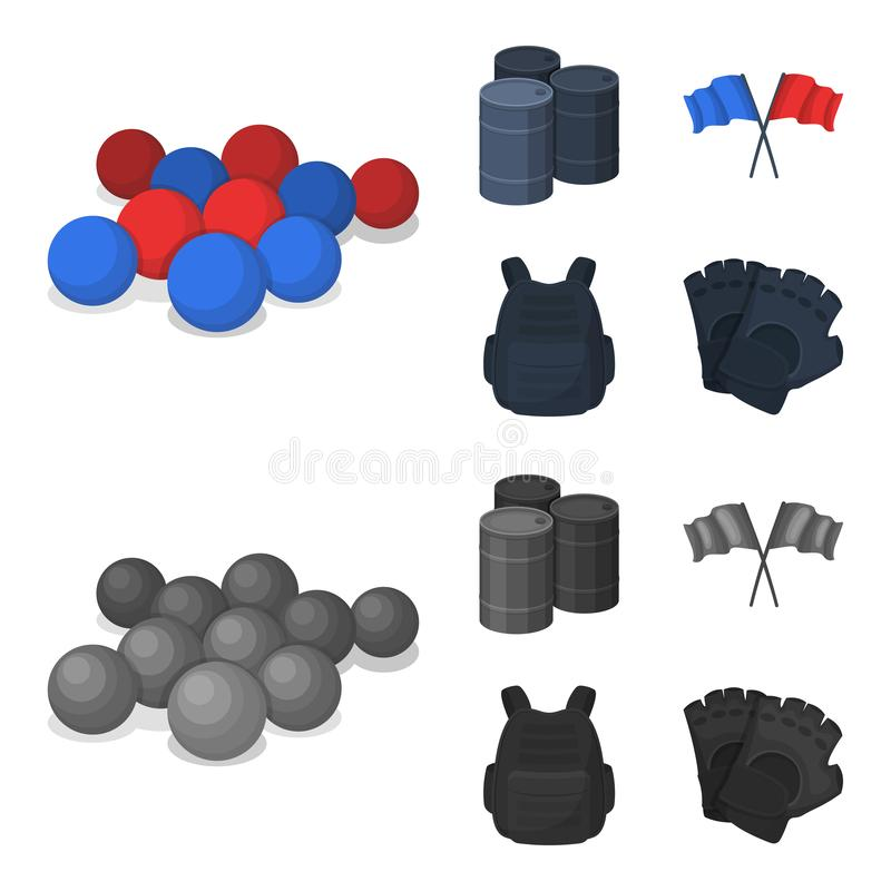 Ochronna kamizelka, rękawiczki i inny wyposażenie, Paintball pojedyncza ikona w kreskówce, monochromu symbolu stylowy wektorowy z ilustracji