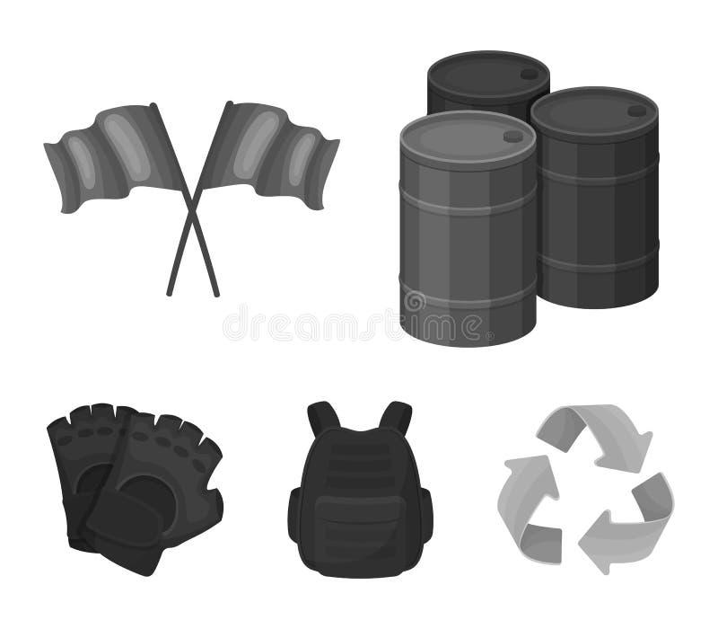 Ochronna kamizelka, rękawiczki i inny wyposażenie, Paintball pojedyncza ikona w monochromu stylu symbolu zapasu wektorowej ilustr ilustracja wektor