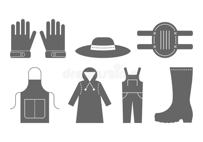 Ochronna odzież dla pracować w ogródzie Płaskiego czerni ikony, przedmioty pracy odzież ilustracja wektor