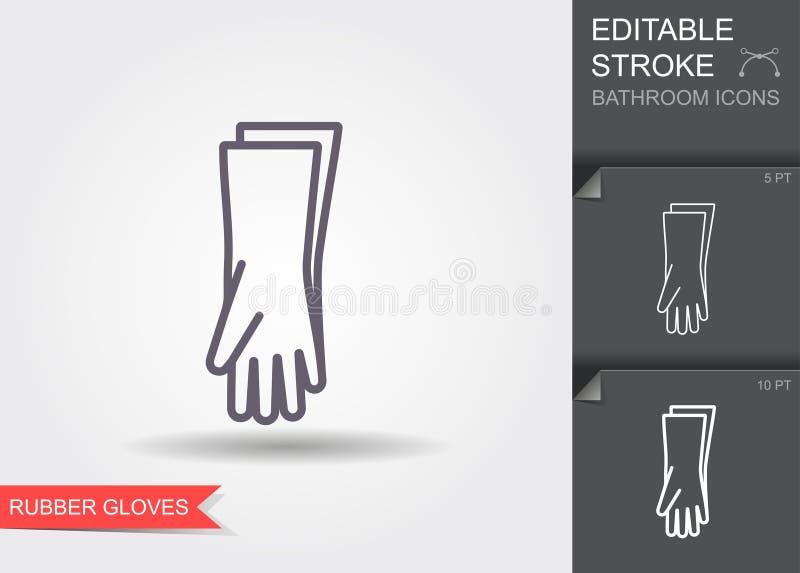 Ochronne Gumowe r?kawiczki Kreskowa ikona z editable uderzeniem z cieniem royalty ilustracja