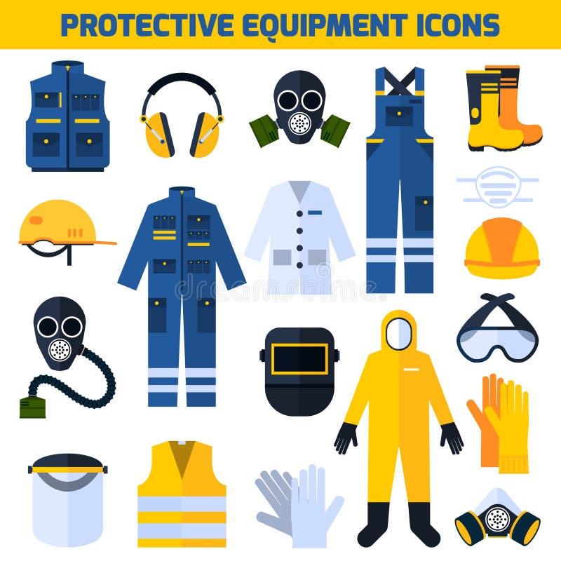 Ochronnego munduru wyposażenia Płaskie ikony Ustawiać ilustracja wektor