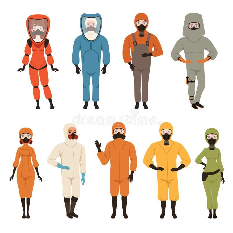 Ochronni kostiumy ustawiają, różnego ochronnego jednolitego wyposażenia wektorowe ilustracje odizolowywać na białym tle ilustracja wektor