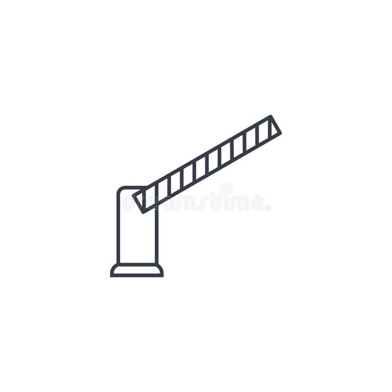 Ochrony brama, przerwy samochodowej bariery cienka kreskowa ikona Liniowy wektorowy symbol royalty ilustracja