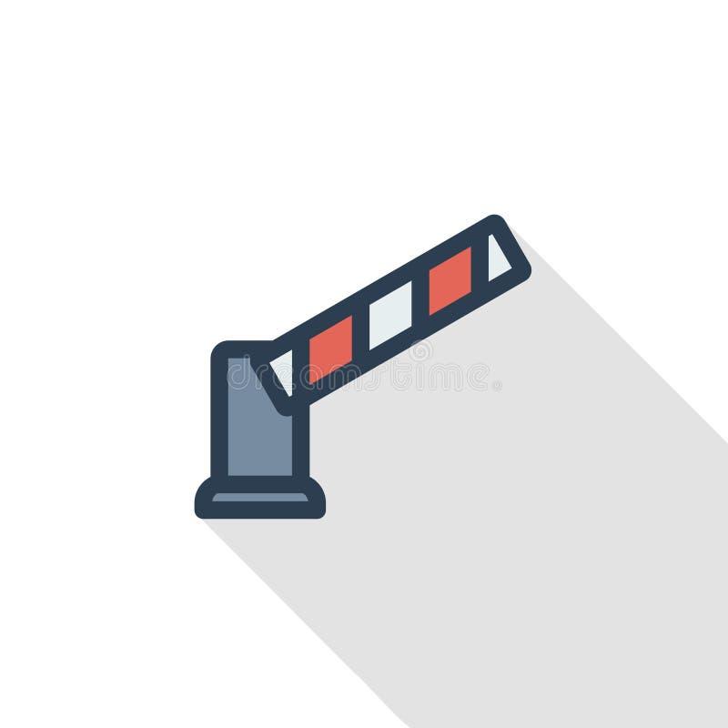 Ochrony brama, przerwy samochodowej bariery cienka kreskowa płaska ikona Liniowego wektorowego symbolu cienia kolorowy długi proj royalty ilustracja