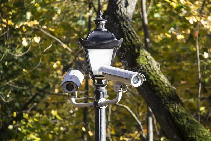 Ochrony cctv kamera na latern w parku obrazy royalty free