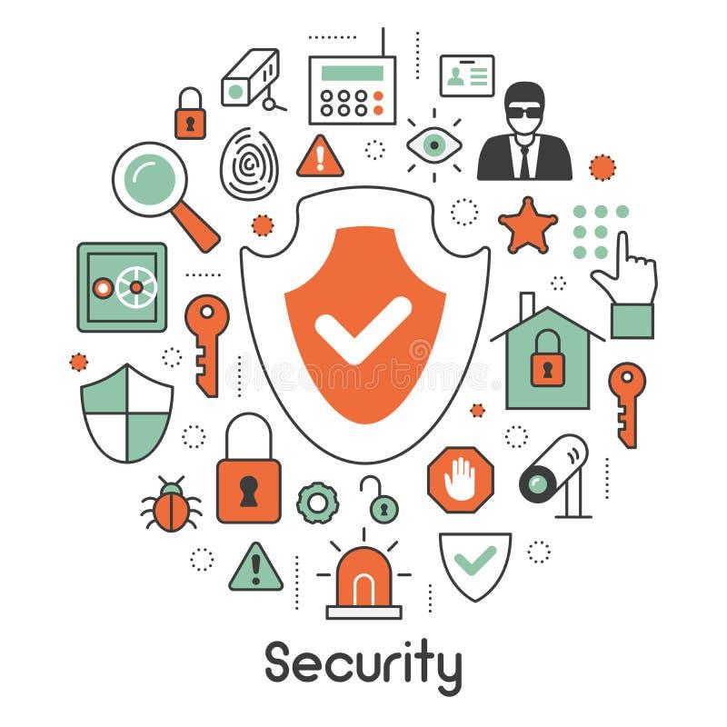 Ochrony i bezpieczeństwa Cienkie Kreskowe ikony Ustawiać z royalty ilustracja