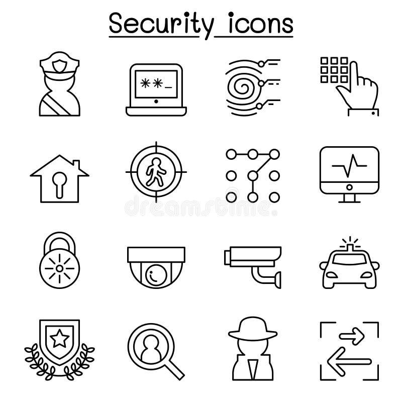 Ochrony ikona ustawiająca w cienkim kreskowym stylu royalty ilustracja