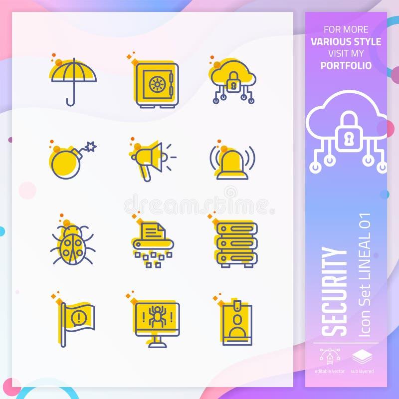 Ochrony ikona ustawiająca z linearnym stylem dla biznesowego symbolu Zbawczy ikona plik mo?e u?ywa? dla strony internetowej, app, ilustracja wektor