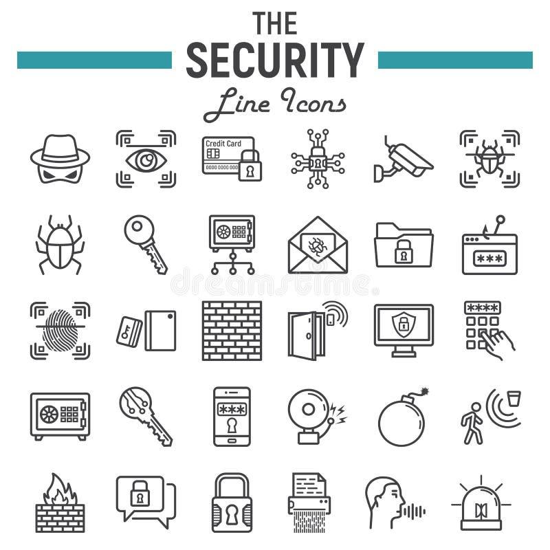 Ochrony ikony kreskowy set, cyber ochrona podpisuje ilustracji