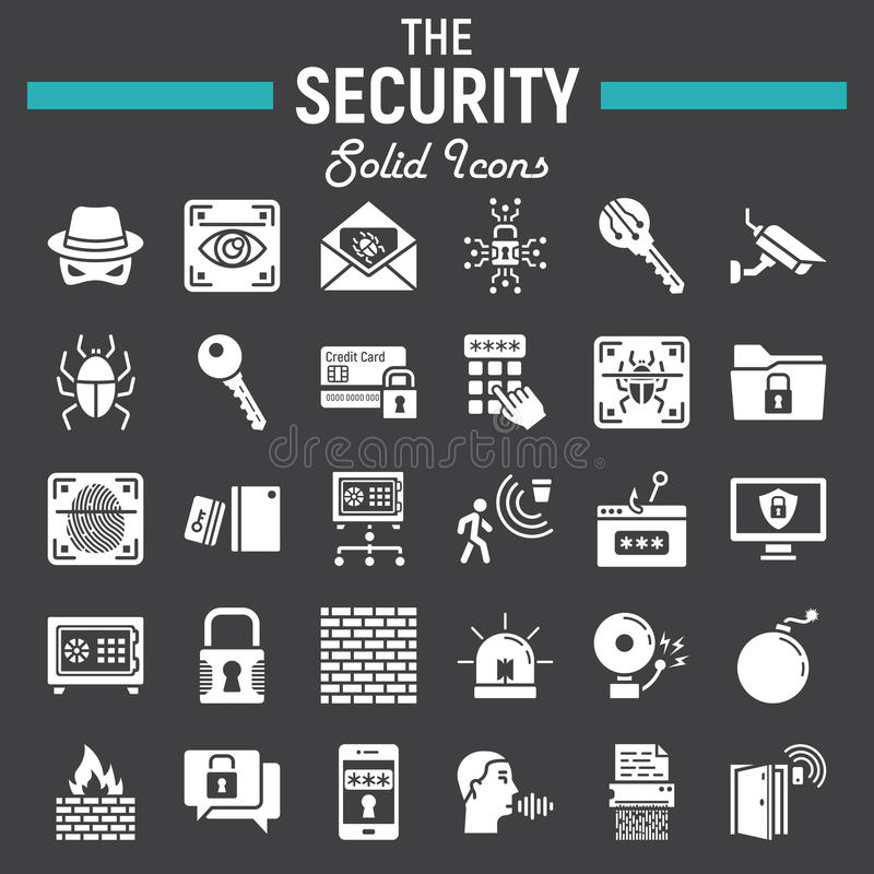 Ochrony ikony stały set, cyber ochrona podpisuje royalty ilustracja