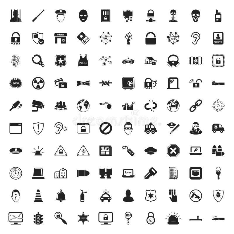 Ochrony 100 ikony ustawiać dla sieci royalty ilustracja