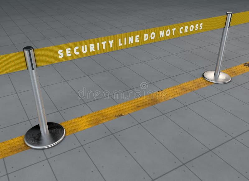 Ochrony lotniska linia, pasażerskiego ruchu drogowego zarządzanie Karmić linie Przekrwienie odjazdy Customs czeki Prowadząca ście royalty ilustracja