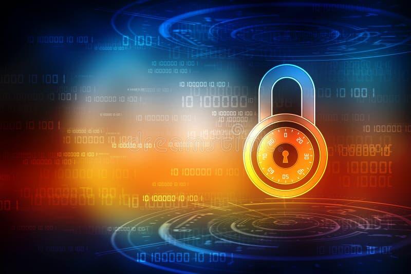 Ochrony pojęcie: Blokuje na cyfrowym ekranie, cyber ochrony pojęcia tło 3 d czynią ilustracji