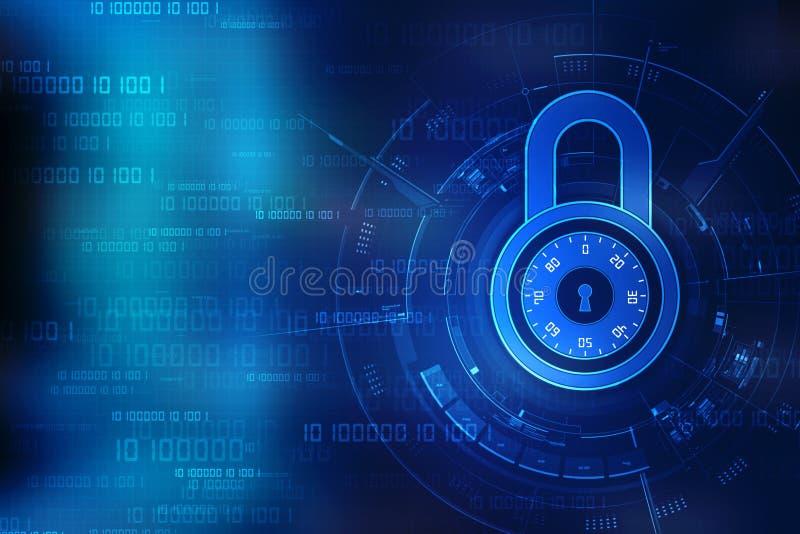 Ochrony pojęcie: Blokuje na cyfrowym ekranie, cyber ochrony pojęcia tło 3 d czynią ilustracja wektor