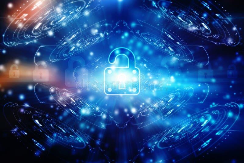 Ochrony pojęcie: Blokuje na cyfrowym ekranie, cyber ochrony pojęcia tło 3 d czynią royalty ilustracja