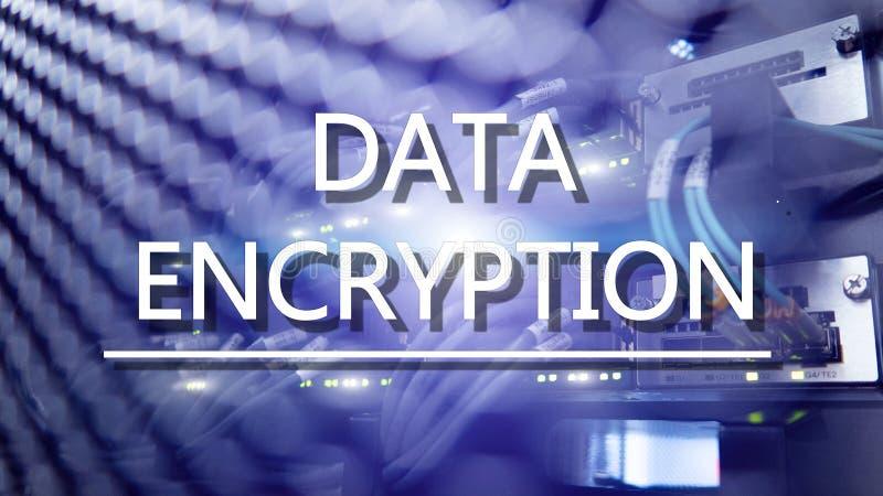 Ochrony poj?cie: Dane utajnianie na cyfrowym superkomputeru tle zdjęcia stock