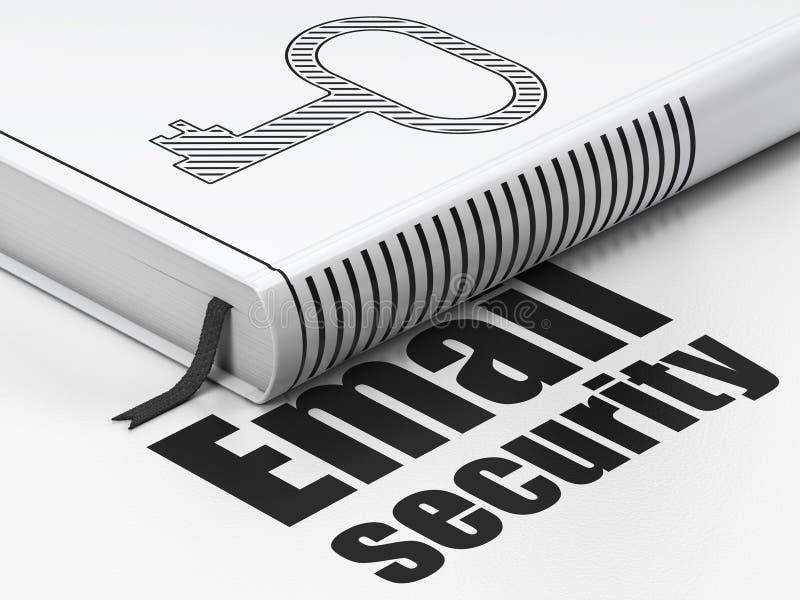 Ochrony pojęcie: książkowy klucz, email ochrona na białym tle ilustracja wektor