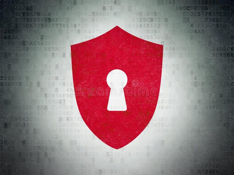Ochrony pojęcie: Osłona Z Keyhole na Cyfrowych dane Tapetuje tło fotografia stock