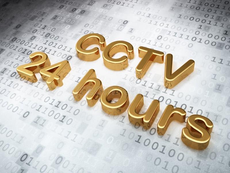 Ochrony pojęcie: Złoty CCTV 24 godziny na cyfrowym ilustracji