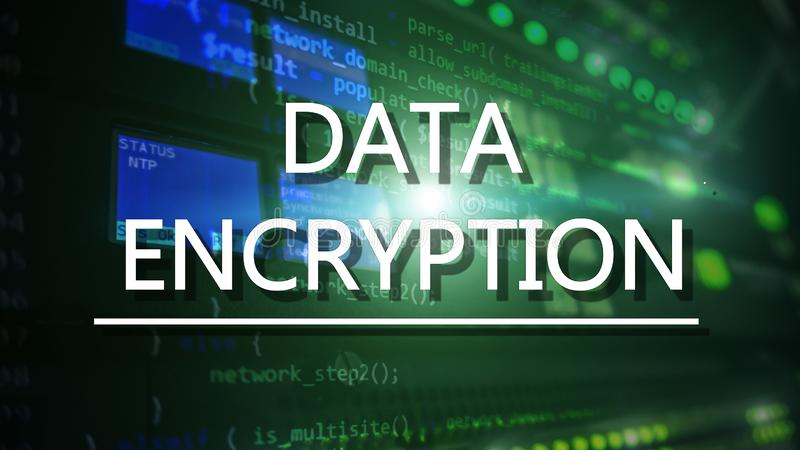 Ochrony poj?cie: Dane utajnianie na cyfrowym superkomputeru tle zdjęcie royalty free