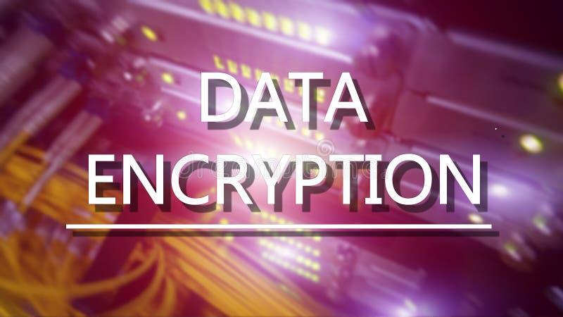 Ochrony poj?cie: Dane utajnianie na cyfrowym superkomputeru tle zdjęcie stock