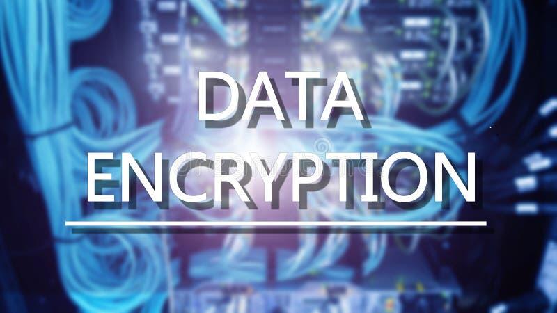 Ochrony poj?cie: Dane utajnianie na cyfrowym superkomputeru tle obraz stock