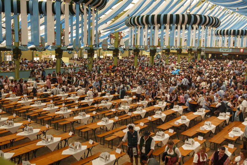 Ochsenbraterei tent at Oktoberfest in Munich, Germany, 2016. Munich, Germany - September 24, 2016: Inside the Ochsenbraterei beer tent at Oktoberfest with the royalty free stock photo