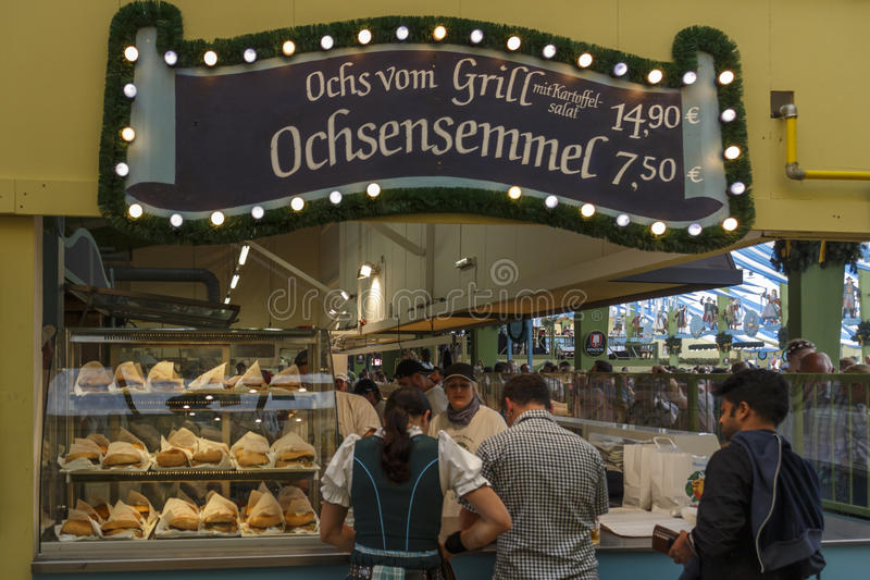 Ochsenbraterei tent at Oktoberfest in Munich, Germany, 2016 royalty free stock photos