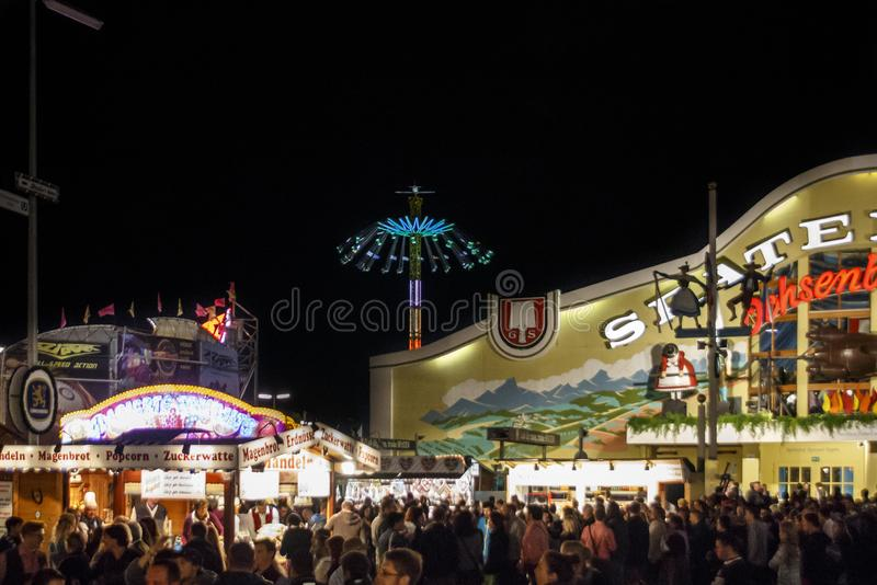 Ochsenbraterei tent at Oktoberfest in Munich, Germany, 2015. Munich, Germany - September 26, 2015: Nightshot of the Ochsenbraterei tent on Theresienwiese during royalty free stock image